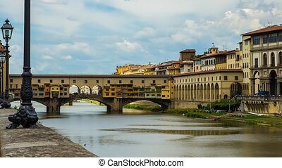 ponte vecchio florence in motion - old bridge in florence...