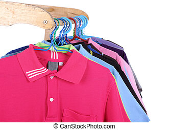 Hanging Polo shirt isolted on white background