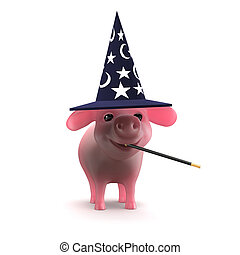 3d Piglet spellcaster - 3d render of a piglet in a wizards...