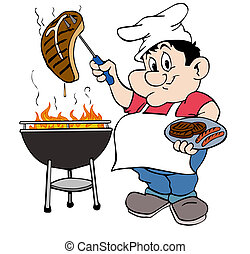 Barbeque Guy - hand drawn cartoon chef working the grill