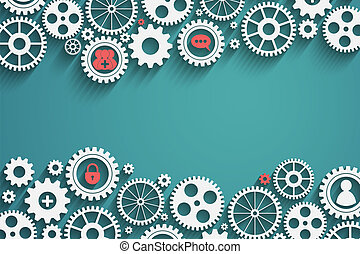 gears with icons inside, add friend, bubble, lock and other,...