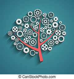 tree with gears - Business growth concept, creative tree...