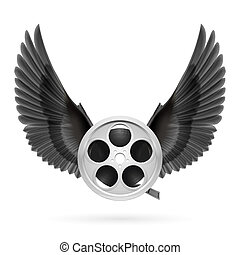 Cinema inspired - Realistic film reel with black wings...
