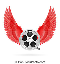 Cinema inspired - Realistic film reel with red wings emblem