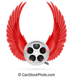 Cinema inspired - Realistic film reel with raised up red...