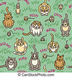 Cats and Critters Pattern - Seamless pattern of cute cats...