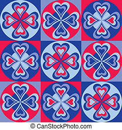 Folksy Hearts Pattern - Folk-art style pattern of hearts,...