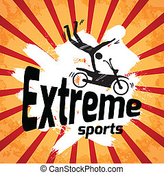 Extreme sports poster with male silhouette on motorbike...