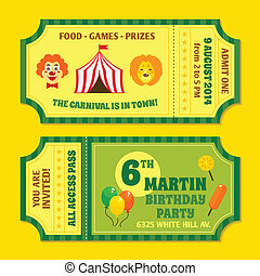 Circus tickets template - Two vintage circus carnival...