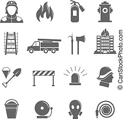 Firefighting icons set - Firefighting black silhouette icons...