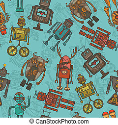 Hipster robot color seamless pattern - Hipster robot retro...