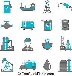 Oil Industry Icons - Oil extraction gas production...
