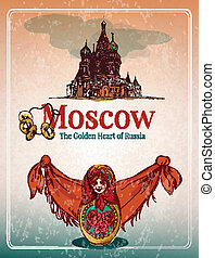 Moscow retro poster - Moscow golden heart of russia retro...