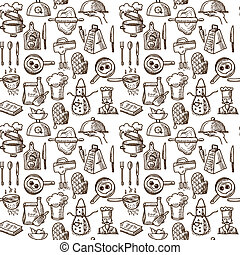 Cooking icons seamless pattern - Cooking process delicious...