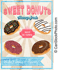 Sweets retro poster - Fresh donut sweet dessert cafe...