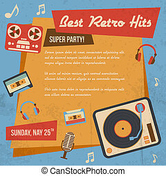 Retro music poster with vintage vinyl player headphones...