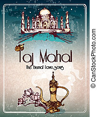 Taj Mahal retro poster - Taj mahal eternal love song retro...