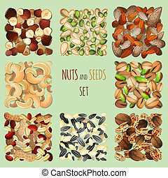 Nuts and seeds set - Nuts and seeds mix decorative elements...