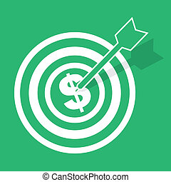 Bulls Eye Money - Bulls eye with arrow hitting dollar sign