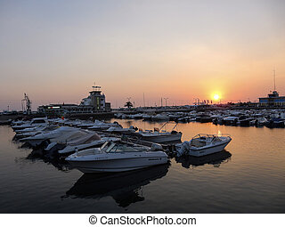 Sunset at Faro Marina - Sunset at the marina in Faro,...