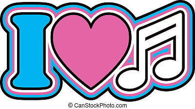 I Love Music - Retro style outlined design of the letter I,...
