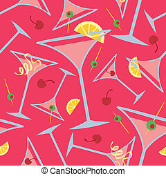 Pink Martinis Pattern - Seamless pattern of martini glasses...