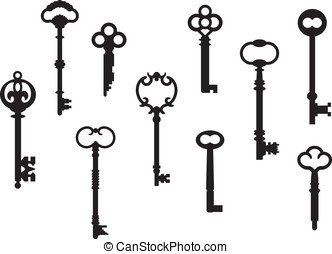 Antique Key Collection - Vector collection of ten skeleton...