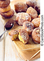 Mini donuts - Fresh baked mini donuts.Selective focus on the...