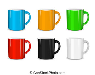 Realistic set of cups. Vector illustration