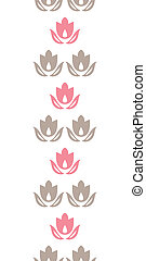 Pink and brown tulips stripes vertical seamless pattern...