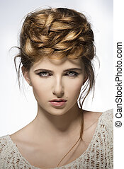 girl with creative cute hairdo