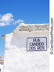 Street name sign in village at south of  Portugal