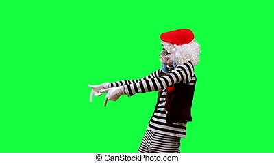 Mime DJ - Mime depicts DJ This clip is pre-matted with an...