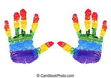 gay pride - handprints with the colors of the rainbow flag...