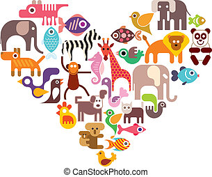 Heart with animal vector icons Isolated color illustration...