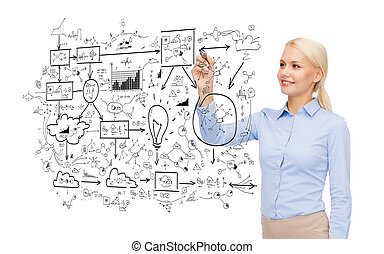 businesswoman drawing big plan in air with marker - office,...