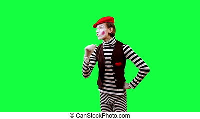 Mime With the Virtual Screen - Cheerful mime work with an...