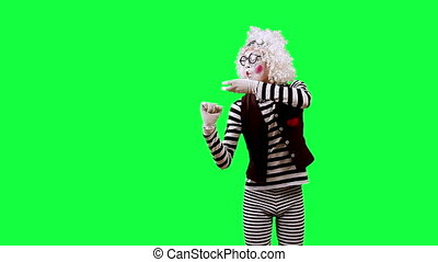 Trumpeter - Mime playing the trumpet This clip is pre-matted...