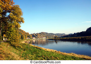 The Elbe river in Saxony, Germany - The Elbe river in the...