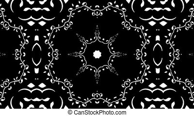 Floral kaleidoscope - Black and white looping video clip of...