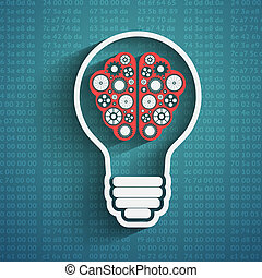 Bulb with brain cloud - Creative bulb with brain, brain with...
