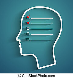 head checkbox - A creative concept of human memory with head...