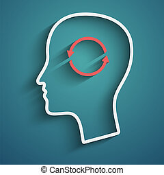 Thoughts and options - Vector illustration of head with...