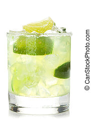 Classic margarita cocktail with salty rim Isolated on white...