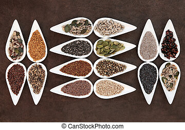 Healthy Food - Healthy seed food selection in white...