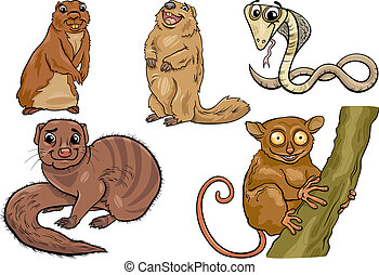 wild animals set cartoon illustration - Cartoon Illustration...