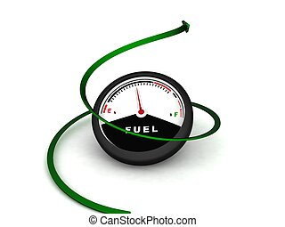 isolated three dimensional fuel meter on an isolated white...