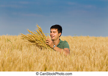 Happy man in wheat field - Satisfied young farmer touching...