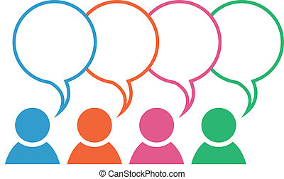 Group Icon Speech Bubble Colors Ove - Icon with group in...