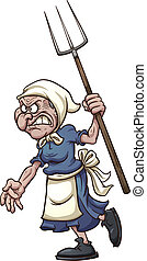 Angry old woman with pitchfork. Vector clip art illustration...
